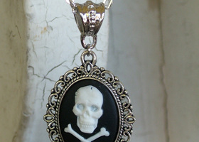 White Skull Cameo Necklace on Silver-Plated Chain