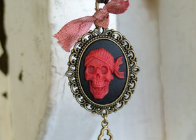 Aye Matey Pirate Cameo with Key Dangle Necklace
