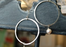 Simple Hoops With a Twist - Sterling With Pearl