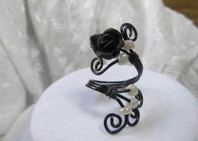 Handmade, black wire wrap ring