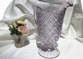 Beautiful Antique Manganese Glass Pitcher - Rare Pattern