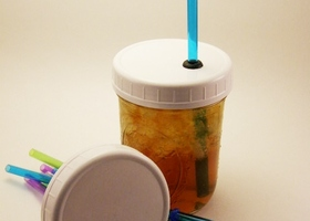 4 Wide Mouth Ball/Mason Jar Lids with Straws