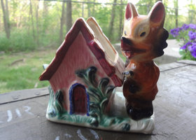 Vintage Fox and Cottage Planter