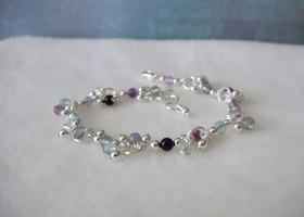 Green and Purple Rainbow Fluorite Vineyard Bracelet