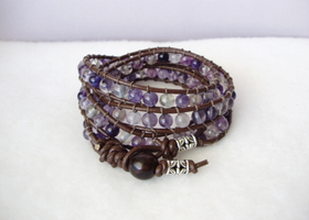 Purple Fluorite Wrap Bracelet