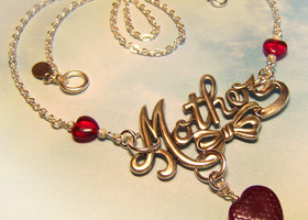 Coco -Glass Hearts Antiqued Silver Mother Necklace Handmade