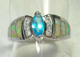 Gorgeous Marquise Blue Topaz, Inlaid Opal and White Topaz Ring Sterling Silver