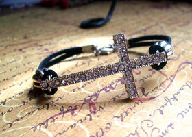 Black Suede Leather Cord Sideways Cross Bracelet