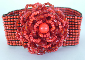 Red Beaded Flower Bracelet