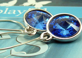 Blue Crystal Earrings On Handmade Sterling Silver Earwires