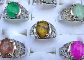 Gorgeous Lot 10 Pieces Vintage Style Natural Stone Silver Rings Big Sizes