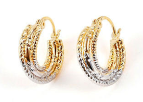 9K Gold Filled 2 Tone Twisted Hoop Earrings