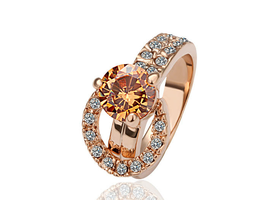 Delux 18K Rose GP Rhinestones + Crystal Women's Ring 8#
