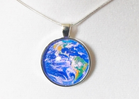 "Planet Earth Glass Pendant Necklace - ""The Blue Planet"""