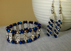 Blue Crystal Earrings & Matching Bracelet