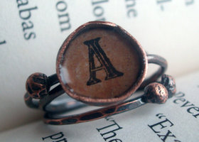 Monogram Copper Stacking Rings
