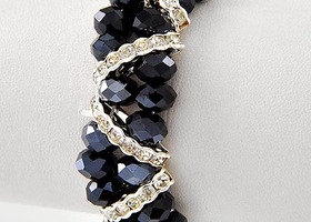 Dark Sapphire Glass Bead and Crystal Bracelet