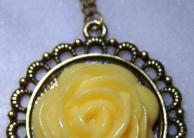 Yellow Rose Pendant Necklace!