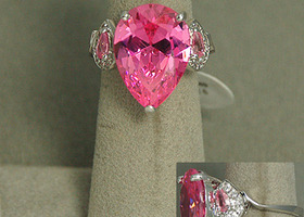 Sterling Silver 925 size 6 or 8 pink cz