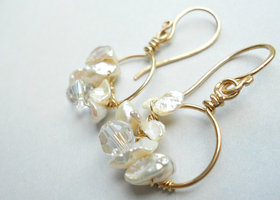 Freshwater Pearl and Swarovski Crystal Gold Filled Bridal Earrings