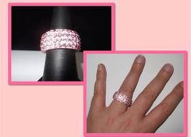 PINK! Swarovski Crystal Encrusted Eternity Ring - Pave Style Setting