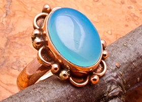 NATURAL LIGHT BLUE CHALCEDONY GEMSTONE SOLID COPPER RING SZ 6.5