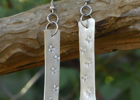 Handcrafted Hammered Aluminum Star Dangles with matted silver hypo hooks