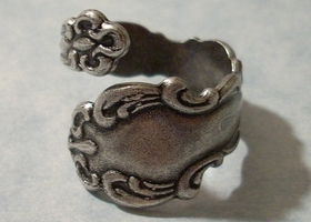 Antique Silver Adjustable Spoon Ring
