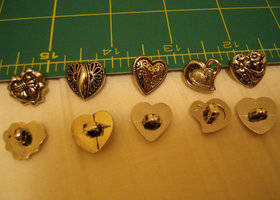 10 Small Silver Heart Button Loops
