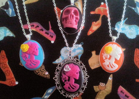 LOT of 4 Gothic Cameo Necklaces - 3D Skull and Vibrant Lolitas! 5th Necklace at $30!