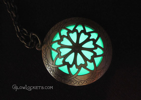 The Original Hour of Twilight Emerald Forest Green Glow Locket Brass