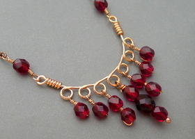Copper and Red Czech Glass Necklace