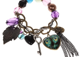 Elegant Bracelet Wrist Ornament with Pendants and Colored Beads Decor