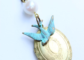 Vintage Verdigris Sparrow Locket