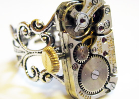 Steampunk watch movement ring, Vintage Gruen precision