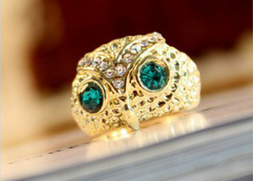 Cute Blue Rhinestone Eye Owl Animal Gold Plated Ring Size 7