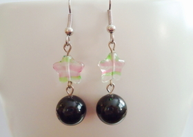 Pink and Green Start Earrings
