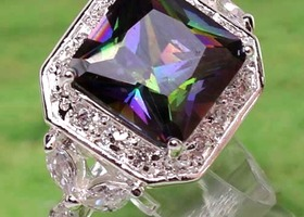 Breathtaking Huge Rainbow Mystic Topaz and White Topaz Ring Sterling Silver