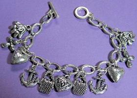 vintage silver charm bracelet puffy hearts ornate hearts purses and more