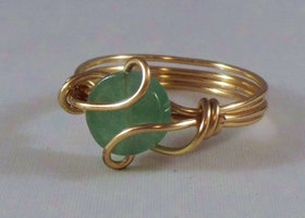 Zambian emerald wire wrapped ring