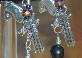 Handmade Gorgeous Sterling Silver Revolver & Skull  Earrings with Crystal Beads & glass pearls