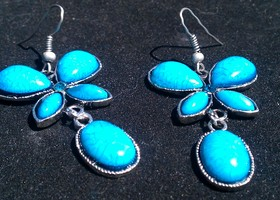 Blue Butterfly Crystal Earrings