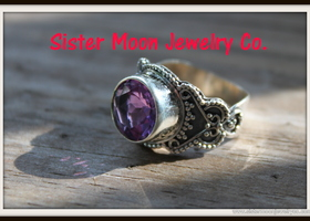 FACETED AMETHYST .925 SILVER RING SIZE 7 1/4