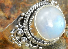 Rainbow Moonstone Sterling SIlver ring 7.5