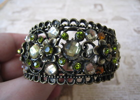 Antique Bling Cuff Bracelet in Green