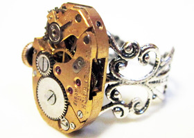 Steampunk watch movement ring, Oderfla