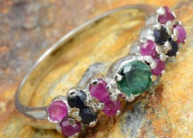 Ruby Emerald and Sapphire Sterling Silver Ring