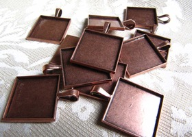 10 Antique Bonze Colored Square Pendants