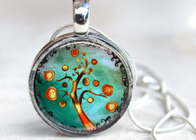 Spring Swirl Trees Magnetic Interchangeable Button Toppers Necklace