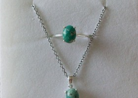 Russian Amazonite Ring (sz 7) and Pendant Set